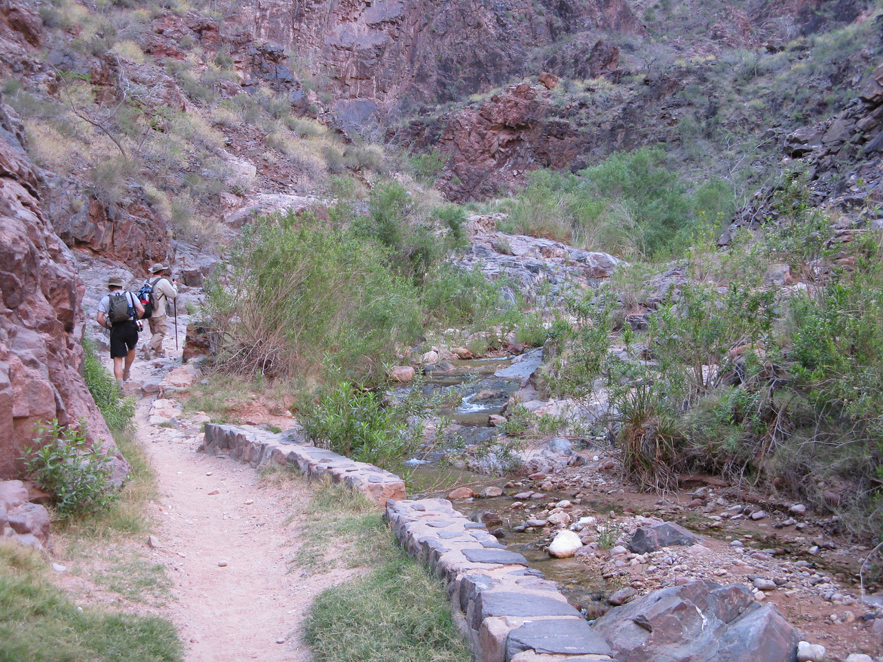The trail follows Pipe Creek up the bottom of this side canyon.
