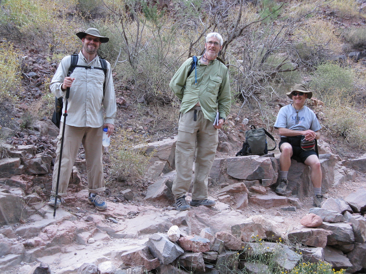 A rest stop along the Bright Angel Trail in Pipe Creek canyon.  (L to R) Jeff, Glenn and Dariusz.