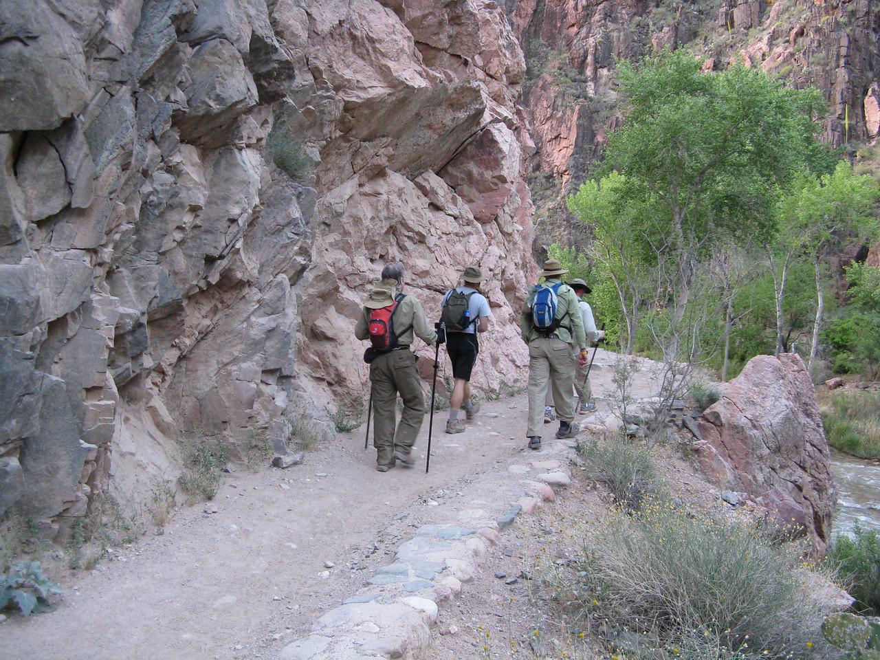 The walk along Bright Angel Creek was cool at 6 a.m.  Richard, Glenn, Darius and Jeff.