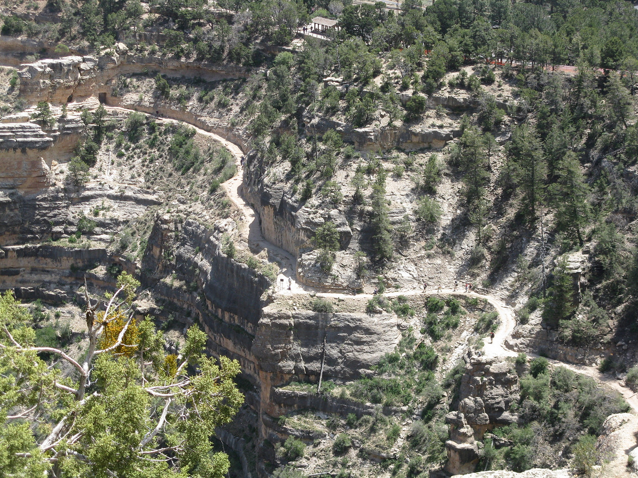 The Bright Angel Trail as it leads up to the first tunnel, which is in the top left corner of the picture.