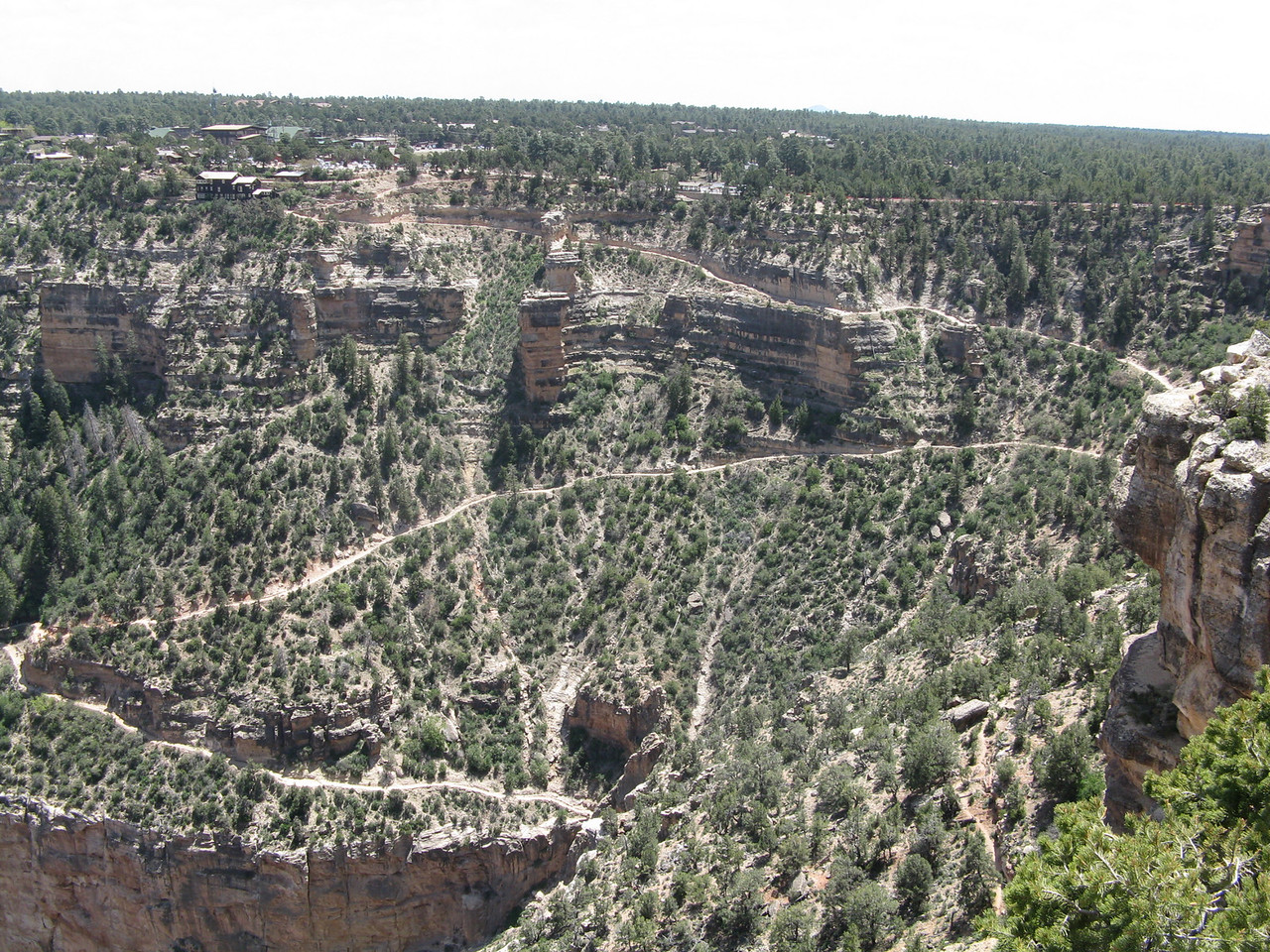 This wide view shows the Bright Angel Trail above the Coconino Sandstone.  This is the last 3/4 mile or so of the trail.  The Second Tunnel occurs where the trail ends in the image, just above the Coconino cliffs, but the tunnel cannot be seen in this view.