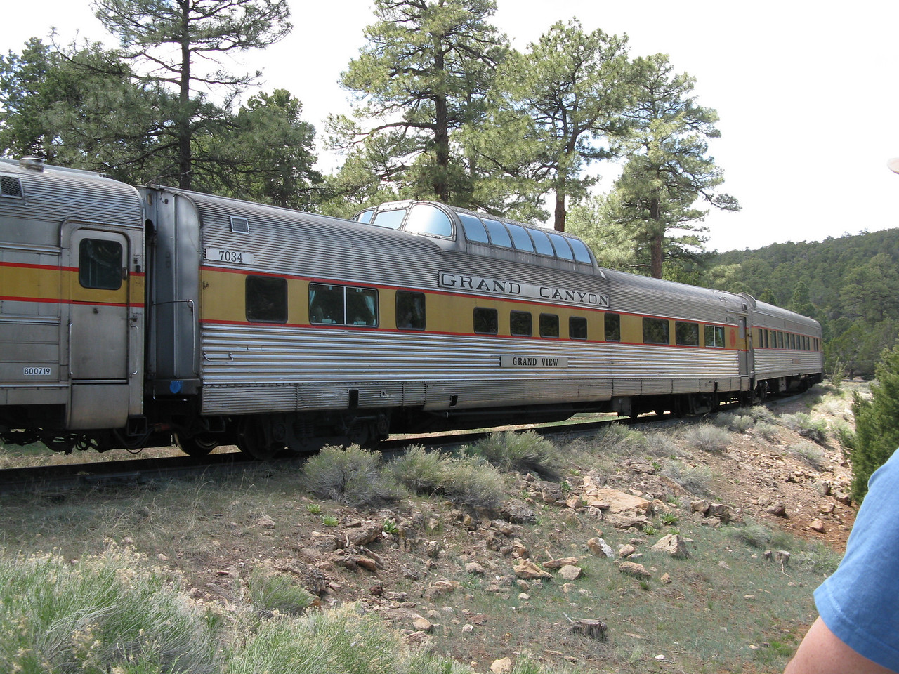 There were two dome cars.  The train does not run near the rim of the Grand Canyon.  Williams is about 50 miles south of Grand Canyon Village.