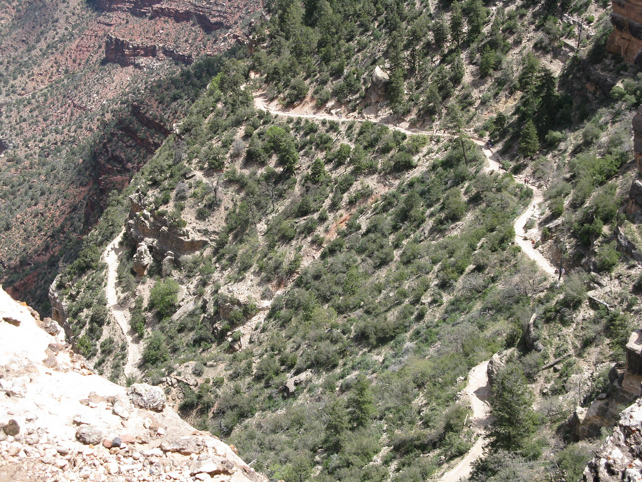 A dizzying picture lookng down on the Bright Angel Trail just above the Coconino Sandstone cliffs.