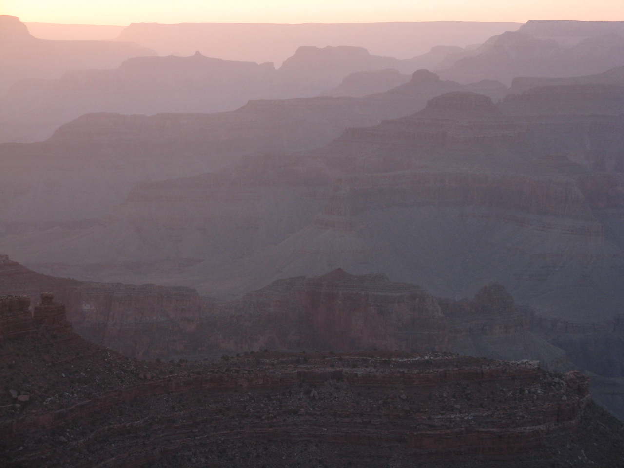 Angular light gives the canyon an appearance of a series of silhouettes.