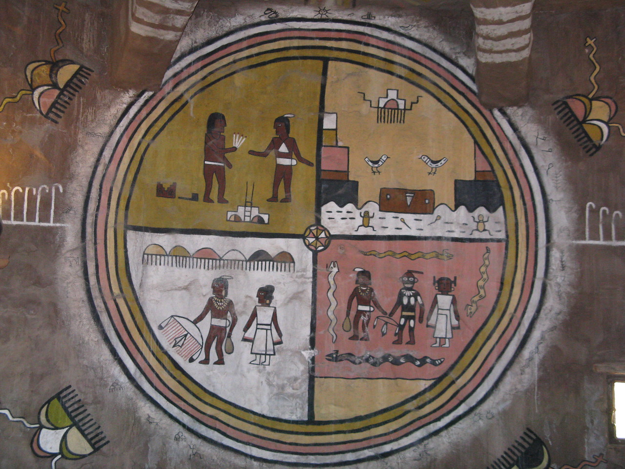 On the inside wall of the Watchtower, this Navajo or Hopi painting dominated the room.
