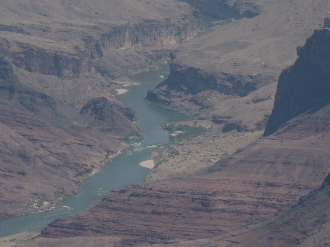 A closer telephoto image of Lava Canyon Rapid.  I did not see any rafts here.