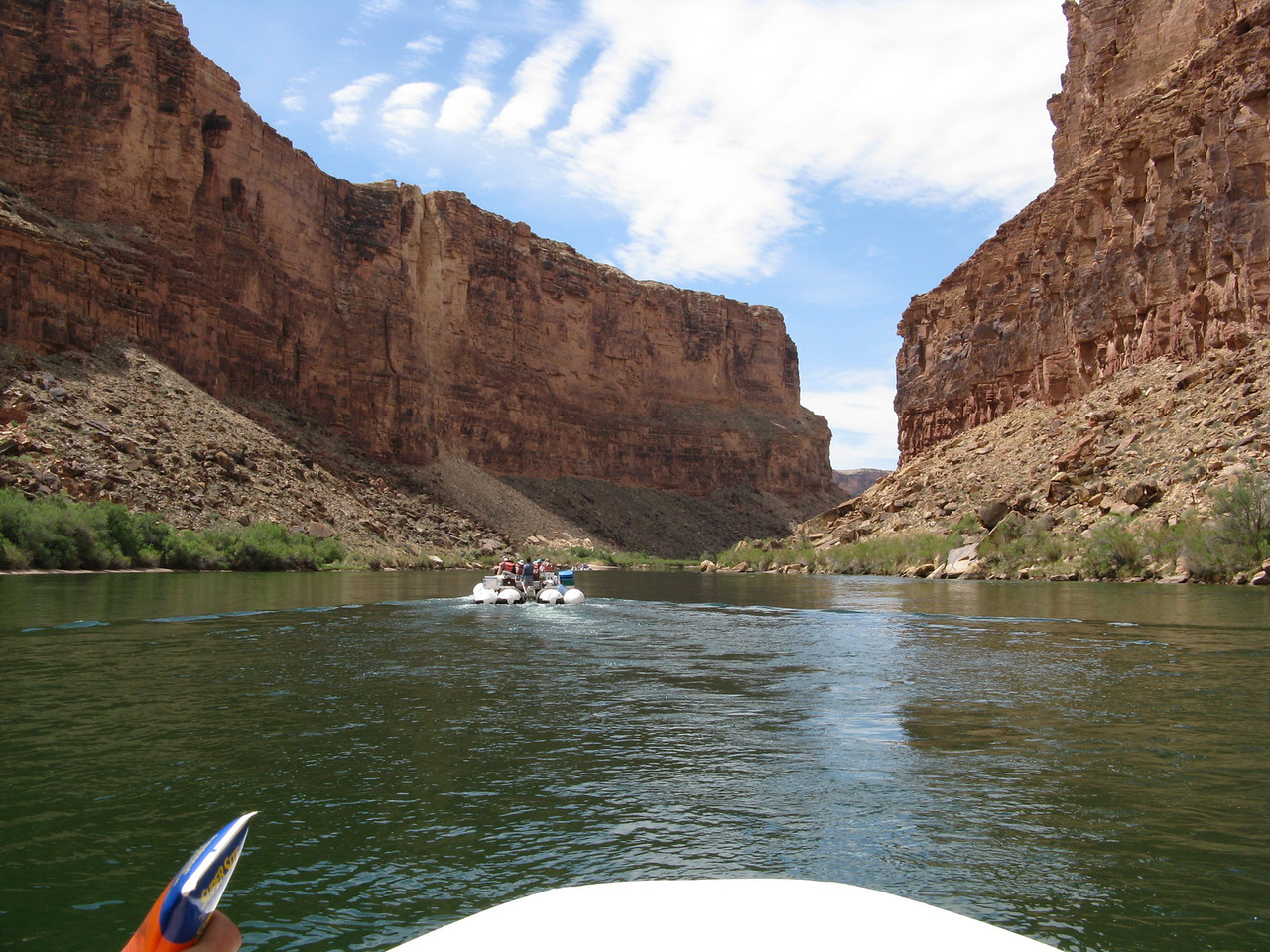 Red limestone and green water in Marble Canyon.