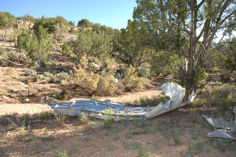 The largest piece of wreckage at the site was this 12 foot long fragment of upper aft fuselage.