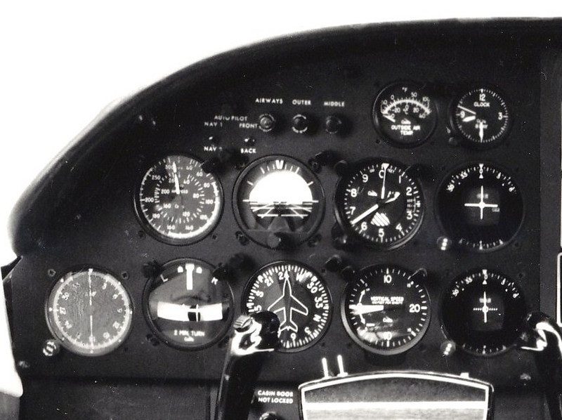 This photo illustrates an intact Cessna 402 flight instrument panel (pilot side).<br /> <br /> The aircraft pictured is equipped with an autopilot system. The two autopilot selector switches are visible above the airspeed indicator.