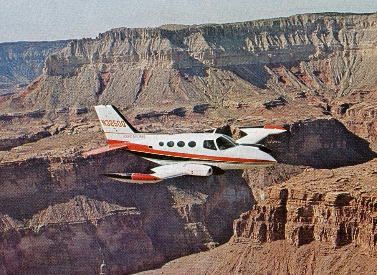 AIRCRAFT INVOLVED<br /> <br /> Cessna 402, N3250Q (s/n: 402-0050) operated by Scenic Airlines shown in a promotional photograph taken over the Grand Canyon.<br /> <br /> The Cessna 402 is a 10 place light twin piston engine aircraft. The Cessna 402 line was manufactured by Cessna from 1966 to 1985 under the names Utiliner and Businessliner. <br /> <br /> The Cessna 402 was not pressurized, nor was it particularly fast for the installed horsepower. Instead Cessna intended the 402 to be inexpensive to purchase and operate.