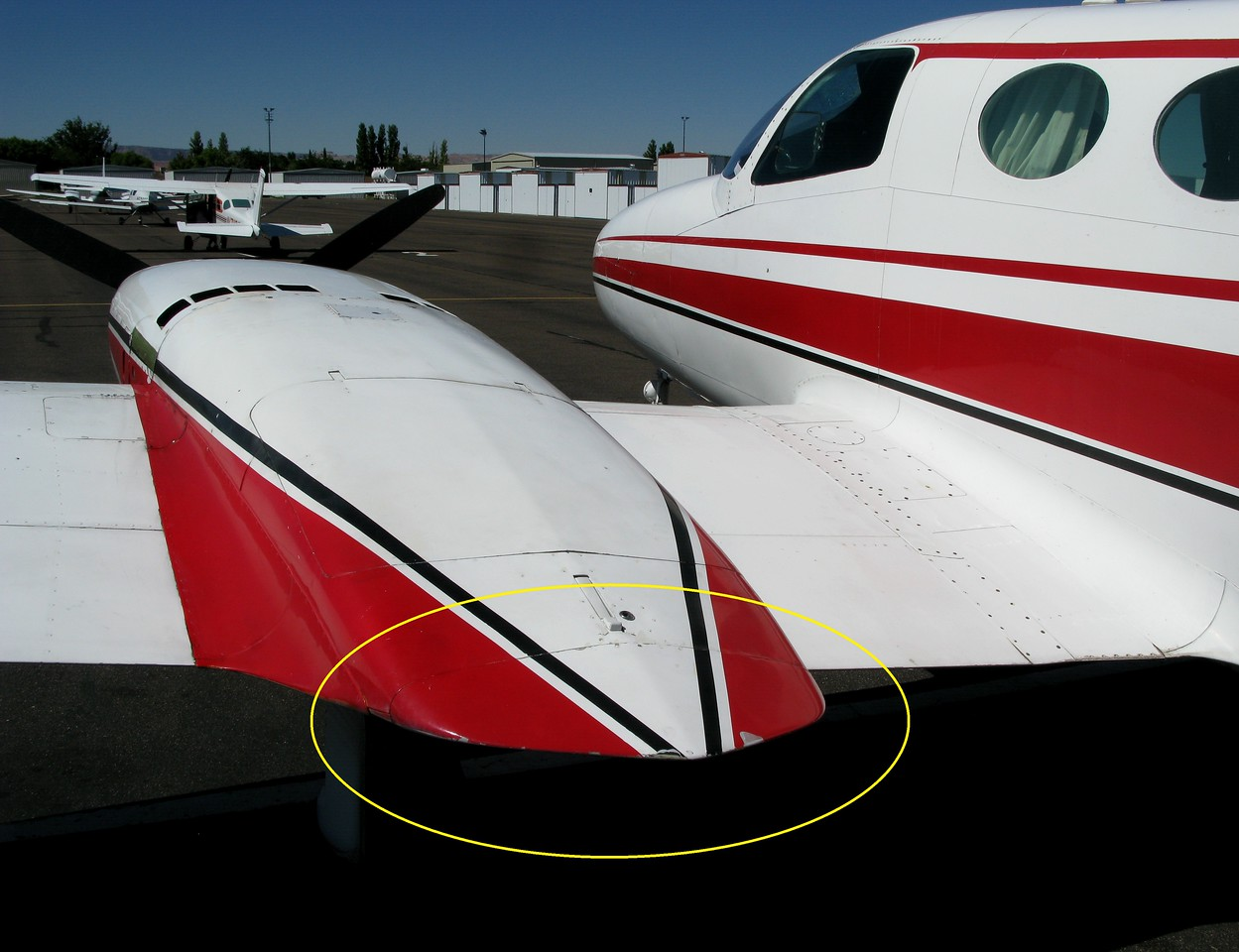 The engine nacelle end caps were located just behind the wing locker baggage compartments on each nacelle.