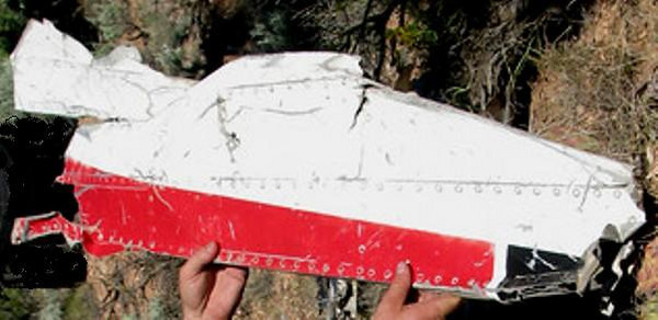 This is how the fragment would have been originally positioned on the aircraft.