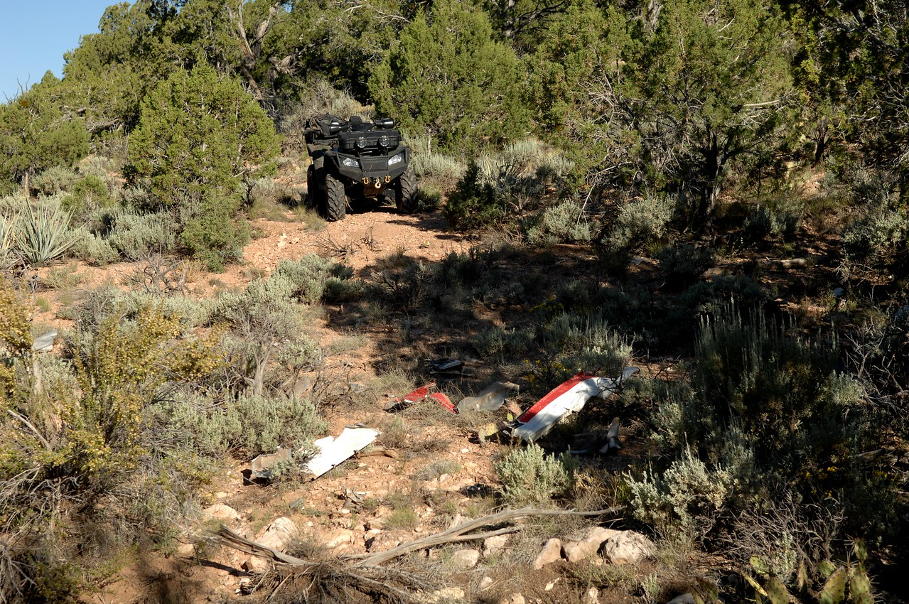 Some of the fragments still had evidence of the aircraft's red, white and black paint scheme.