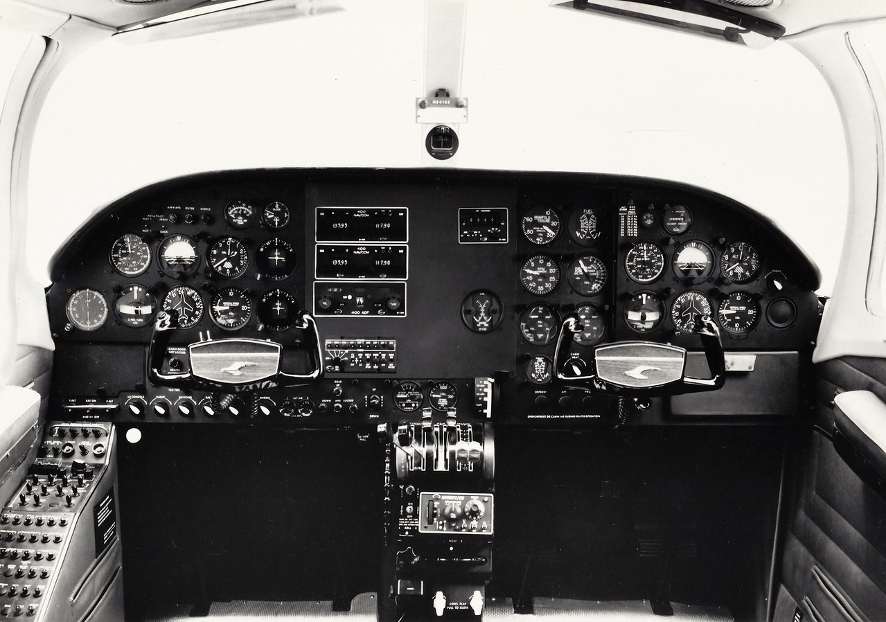 A typical early 1970s instrument panel layout for the Cessna 402. The accident aircraft was instrument equipped, but possible airframe icing and/or spatial disorientation by the pilot are the most likely probable causes for this CFIT (Controlled Flight Into Terrain) disaster.