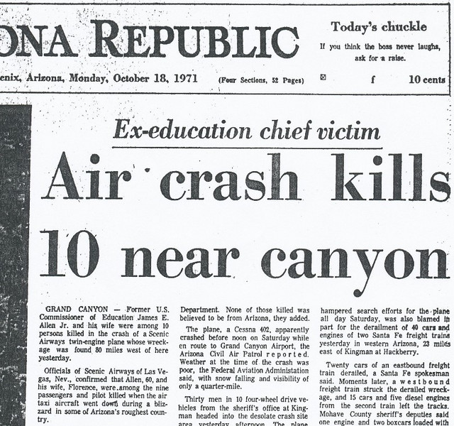 A day went by as search and rescue teams scoured the many remote northern arizona landing strips in a desperate hope that Captain Leeth had landed the plane to wait out the storms.<br /> <br /> After the wreckage was discovered late in the day on the 17th, the next day newspaper headlines announced the grim news.