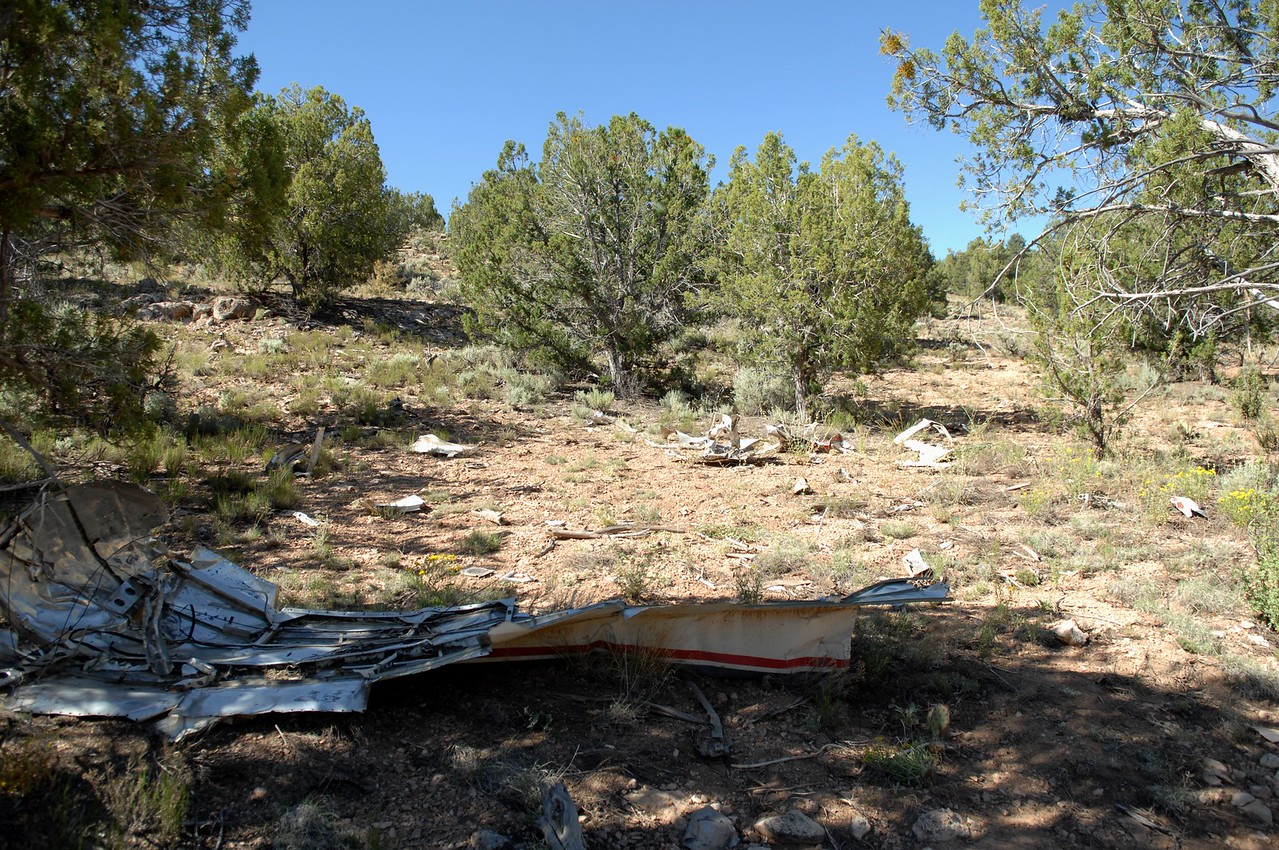 From the bottom of the ravine I noticed a trail of wreckage that extended up the southern slope.