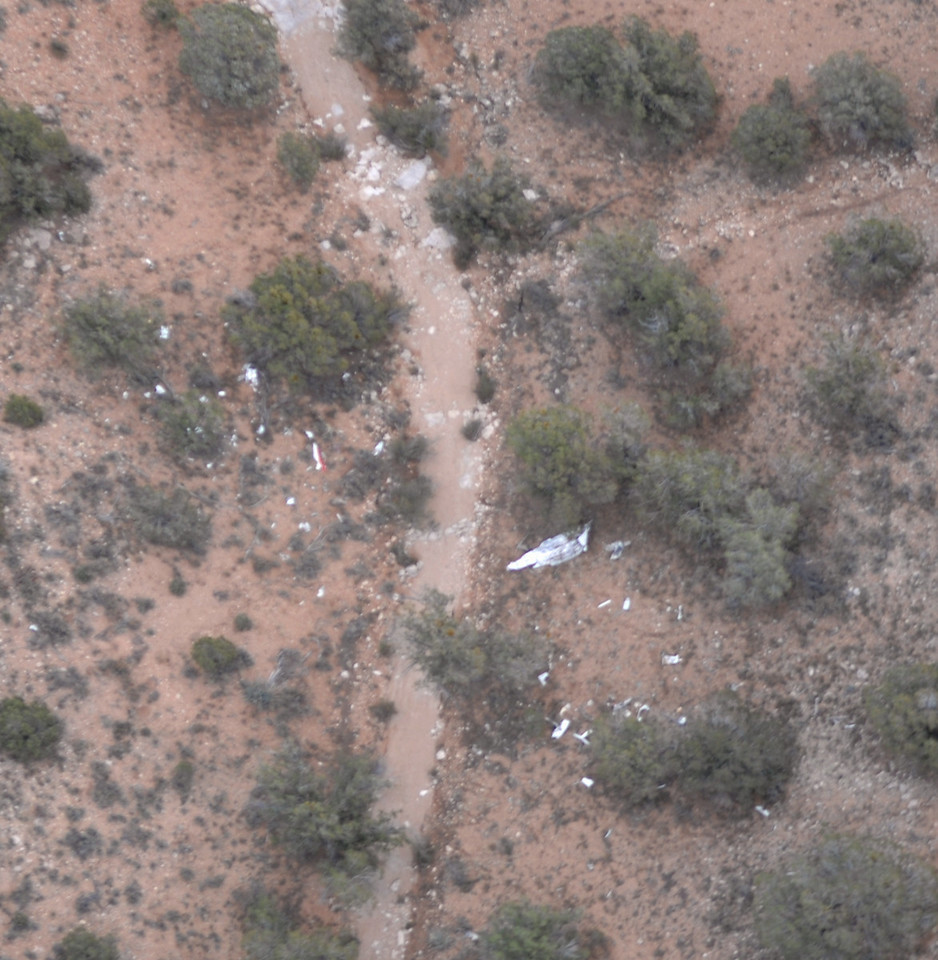 An aerial photograph of the main impact site taken on December 12, 2008 illustrates the destruction of the Cessna 402 and the remaining wreckage.
