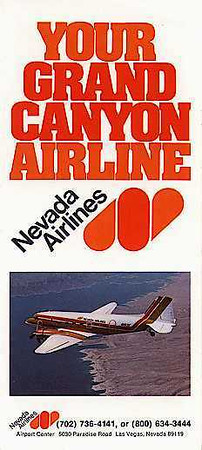 A Nevada Airlines travel brochure from 1979 depicting one of the airline's Douglas DC-3s.<br /> <br /> The airline operated on-demand charter and scheduled passenger flights from Las Vegas to Tonopah, Carson City, Reno and Grand Canyon, Arizona. The airline utilized Douglas DC-3 aircraft and had one Martin 404 (N40438), a former TWA Airliner from the 1950s.