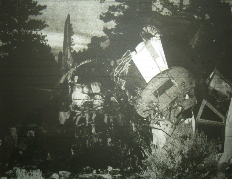 Most of the passenger cabin area was completely gutted by the post crash fire.