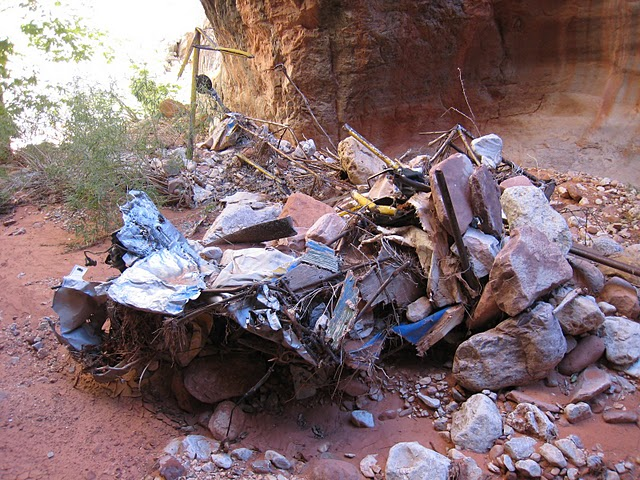 This particular accident site will be difficult to preserve due to the constant threat of continued floods and erosion. The wreckage, over time will continue to be washed down and buried by rocks and sand.