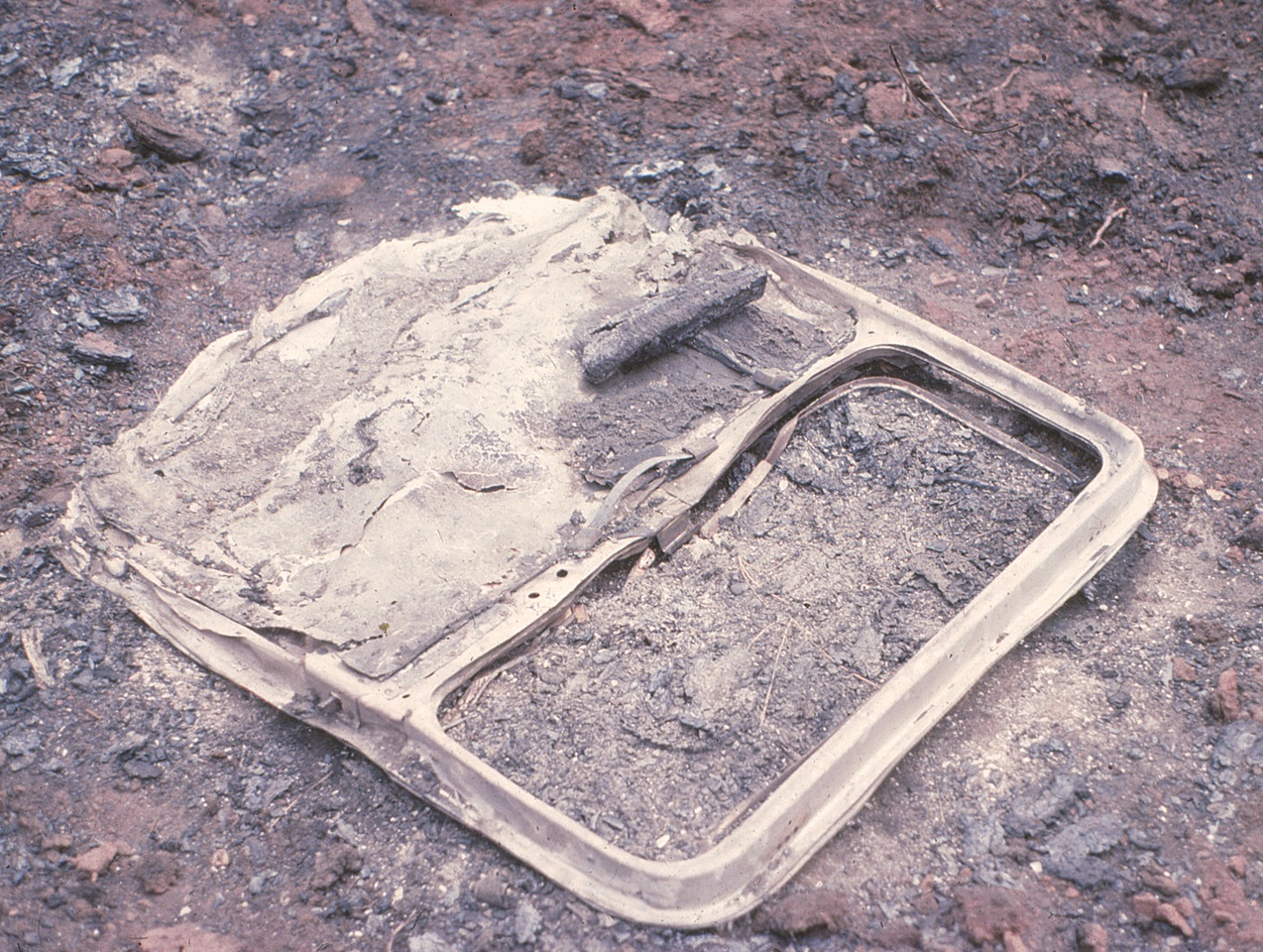 The forward right side passenger door separated on impact and than burned in the resulting post impact fire that swept through the area.