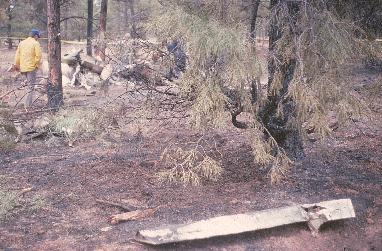 The plane was literally torn apart as it descended through the forest. In the foreground, an aileron flight control surface.<br /> <br /> The various parts and flight control surfaces located along the flight path helped determine why control was lost during the decent through the trees.