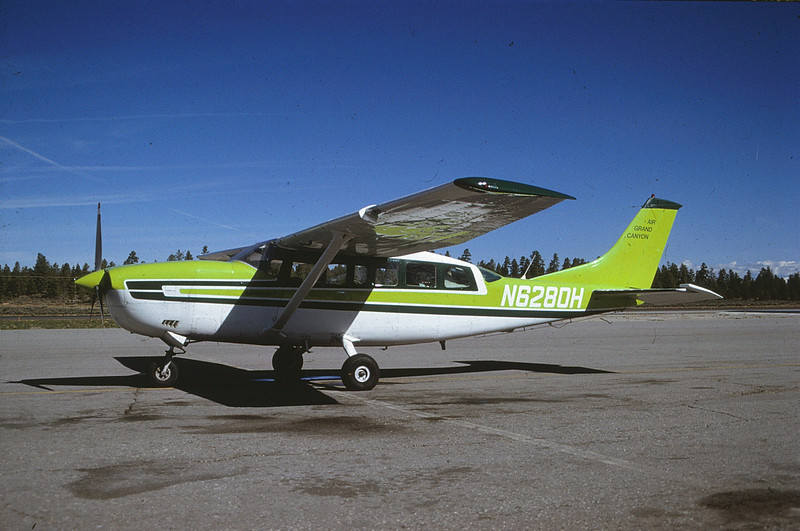 "The aircraft as it appeared in the summer of 1990. By May 1991, the small titles on the tail were replaced by a large number ""1"" with the title ""AIR GRAND CANYON"" below the number. (1990 LostFlights)"
