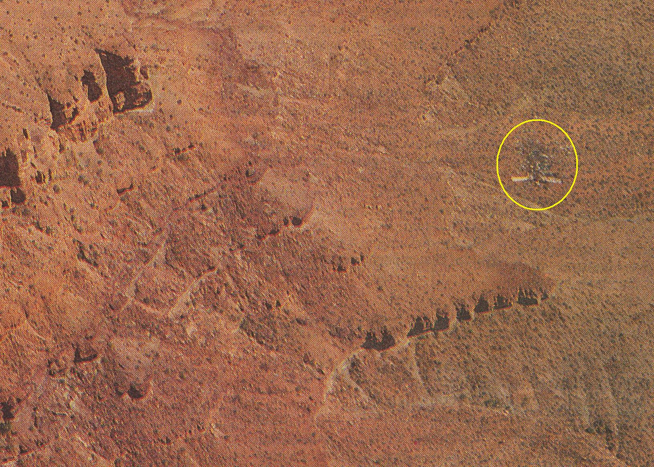"The main impact site of ""Canyon 6"" was on the southwest slope of Mencius Temple. The wreckage of ""Tech 2"" came down nearly one half mile to the southwest of the ""Canyon 6"" impact site at the eastern edge of Tuna Creek."