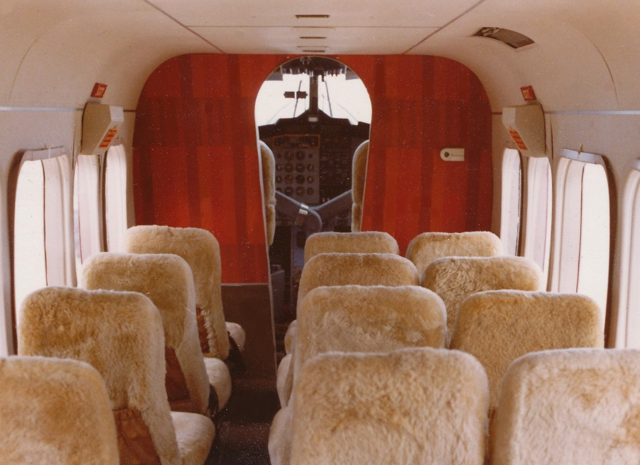 """The interior cabin of """"N76GC"""" was photographed shortly after it's completion in 1983 by the modification facility, RW Martin."""