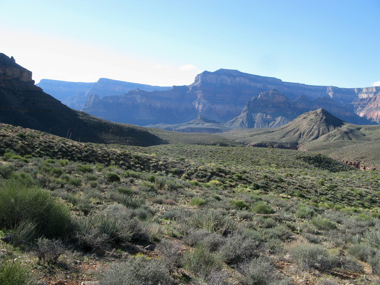From an aircraft, the remote Tonto Plateau appears to be a flat and easy hike, but it's an illusion. There is a series of deep ravines and drainages that must be traversed.