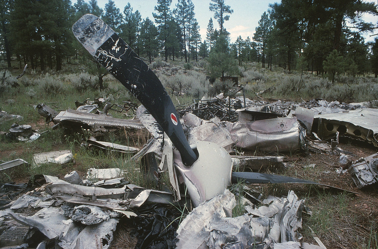 The remains of one of the Vistaliner's two three-blade propeller assemblies lay amid other debris. <br /> <br /> The dump site for both helicopter and airplane contained most of the wreckage from both impact sites. Certain key pieces to the investigation were retained by the NTSB for further analysis. (1990 LostFlights)