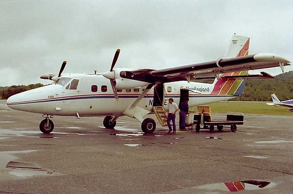 "The demand for commuter aircraft in the northeast U.S. brought ""N386EX"" back to the east coast flying passengers for Air New England. Seen here in Lebanon, New Hampshire during August 1977."