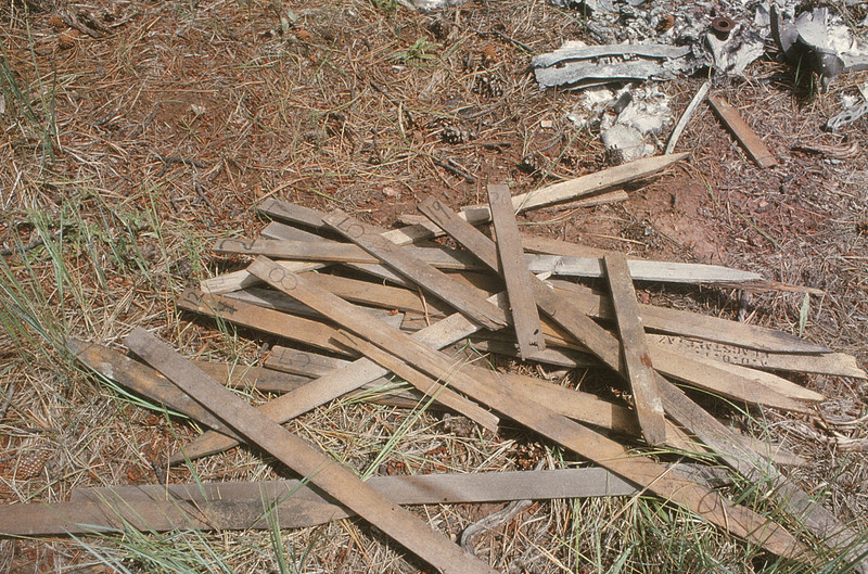 The National Park Service wanted all traces of the accident wreckage removed from the canyon. This not only included the wreckage, but also these wooden numbered marker (victim) stakes the accident investigators left behind.