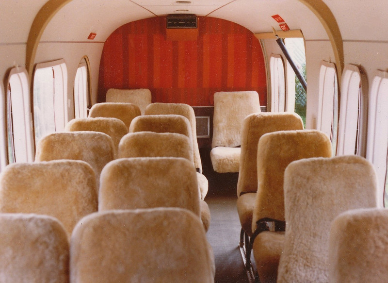 "The passenger cabin of ""N76GC"" was designed to carry a maximum of 19 passengers. The air conditioning outlet vent can be seen attached to the upper aft cabin bulkhead. The air conditioner was another modification added to the ""Vistaliner"" design."