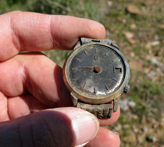 This gold plated Bulova Accutron was a fine watch back in 1986. Occasionaly wristwatches located at accident sites are used by investigators to help aid in determining the time of the accident when no other means is available.