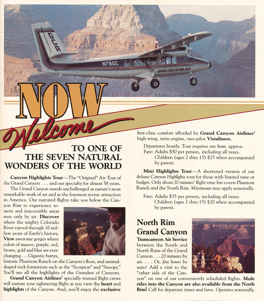 "The above 1986 GCA brochure folded out to this picture of the accident aircraft ""N76GC"". <br /> <br /> After the accident these brochures were removed from public circulation. (2008 LostFlights)"