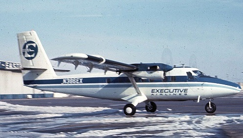 """HISTORY OF AN AIRCRAFT<br /> <br /> Before deHavilland Twin Otter """"N76GC"""" flew tours over the Grand Canyon, it lived a different life in the Northeast United States as a commuter airliner. <br /> <br /> Seen here in February 1971 at Boston/Logan, MA, flying for Executive Airlines originally registered as """"N386EX"""". (Photo courtesy of Werner Fischdick)"""