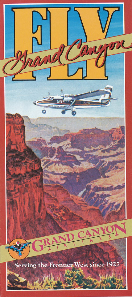 """During the summer of 1986, Grand Canyon Airlines operated two """"Vistaliner"""" converted deHavilland DHC-6-300 Twin Otter aircraft as well as two Cessna 207 aircraft.<br /> <br /> Pictured is a GCA air tour brochure from the summer of 1986. This was the last year that this particular brochure was used by the airline. (2008 Lostflights)"""