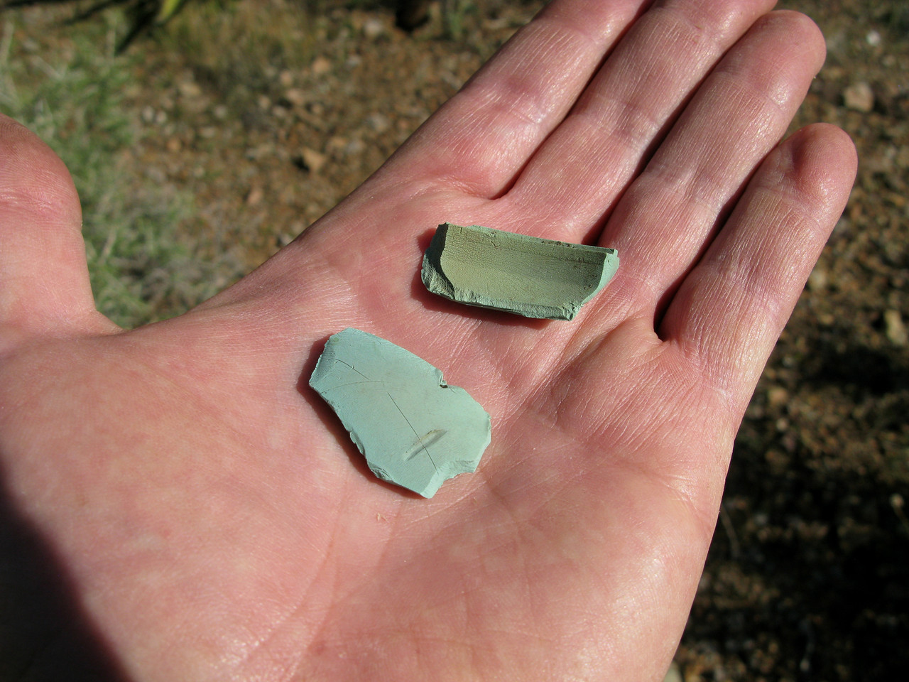 "Each pilot of ""Canyon 6"" utilized headsets manufactured by the David Clark Corporation. These two green plastic fragments are from the headset's ear-cups."