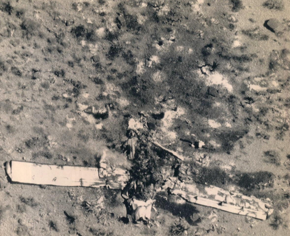 """The next day, the gutted wreckage of """"Canyon 6"""" was still smoldering on the canyon floor. (Photo courtesy of Brad Gray)"""