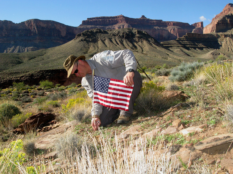 To honor John Thybony's military service in Vietnam, I decided to place an American Flag at the crash site as a memorial.<br /> <br /> Looking over the crash sites one last time and with the sun about to set over nearby Scorpion Ridge, I began to make the long hike off the Tonto Plateau.