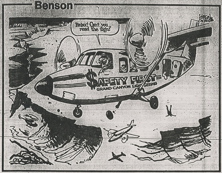 It wasn't long after the accident before Arizona Republic's newspaper editorial cartoonist, Steve Benson ran his viewpoint of air tour safety at Grand Canyon.