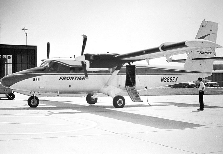 By 1972, the Twin Otter made it's way out west to Colorado flying passengers for Frontier Airlines. Shown here awaiting passengers at Denver's Stapleton Airport. The aircraft remained with Frontier until 1974.