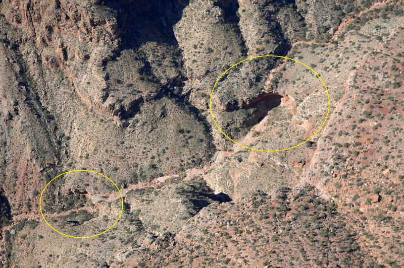 In preparation for my second attempt to reach the crash sites, I researched the route thoroughly by reading guide books by veteran canyoneers Harvey Butchart and George Steck.<br /> <br /> In addition, I reviewed several aerial photographs of my proposed route which included the circled large pour-off and a secondary smaller pour-off in the creek bed.