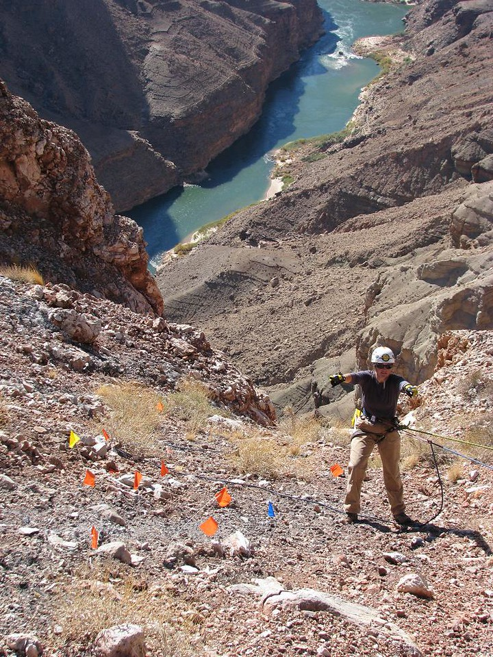 GRAND CANYON NATIONAL PARK SERVICE - 2006<br /> <br /> During 2006, the National Park Service took steps to document the 1956 impact locations as historical archaeological sites. After 50 years the terrain of Chuar Butte still proves difficult and dangerous for researchers. (NPS Photo)