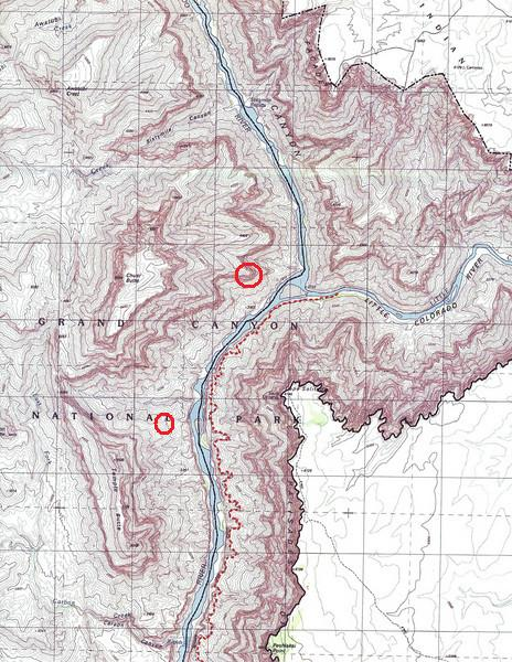LOSTFLIGHTS SITE EXAMINATION VISITS 1990-2006<br /> <br /> Topographic map showing the crash site area as well as the confluence of the Colorado and Little Colorado Rivers. A portion of the Beamer Trail follows the Colorado River and is marked by the red dashed line.