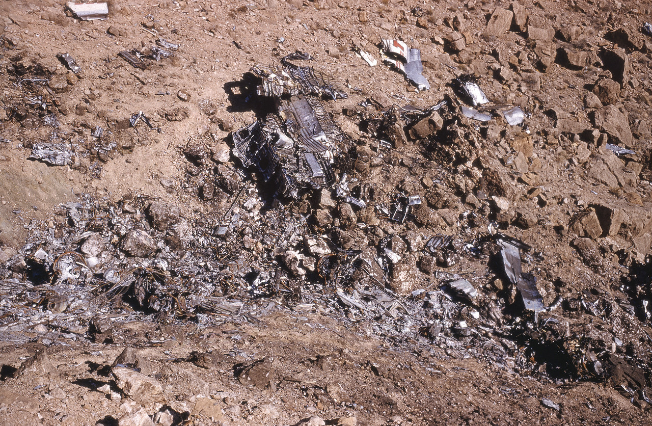 TWA FLIGHT 2 MAIN IMPACT SITE:<br /> <br /> NPS File photo of the TWA Impact Site. Taken during the CAB's wreckage recovery visit of October 1956. (LostFlights Archive Photo)