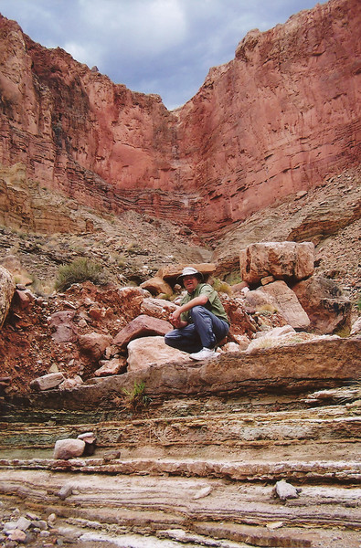 This photo was taken at Chuar Butte on the August 2006 commercial river trip. The Wilderness River Adventure guides set camp below the impact point of United 718.
