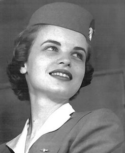 TWA Hostess Beth Davis, 25 had been with TWA since 1953. Miss Davis had recently received a full scholarship for a Master's in Education and planned to quit flying within a month to return to school. (Davis Family Collection)