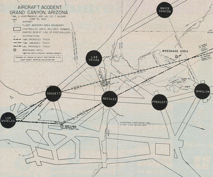 THE INVESTIGATION BEGINS:<br /> <br /> This route map from the CAB Accident Report outlines the routes taken by each flight as they progressed eastbound toward their destinations.